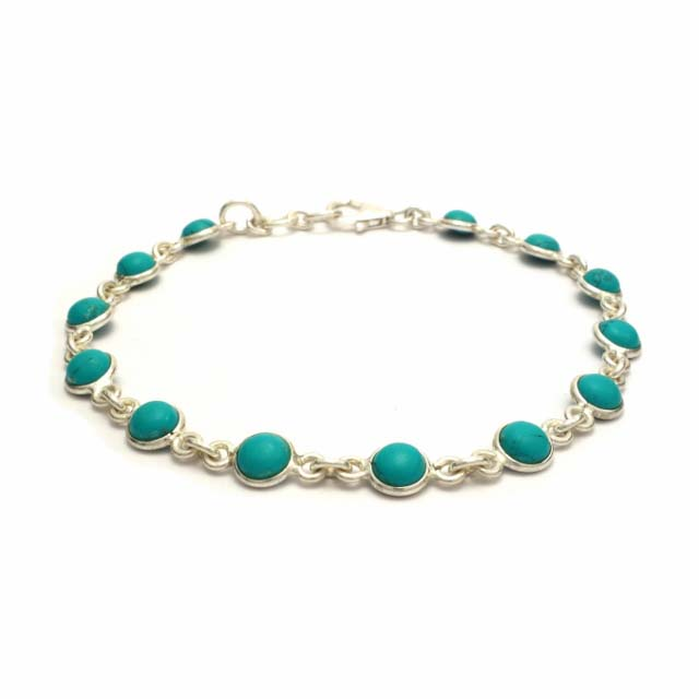 Dainty turquoise silver bracelet
