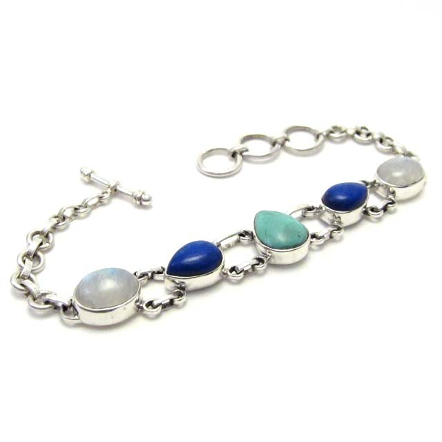 Turquoise, lapis and moonstone silver bracelet