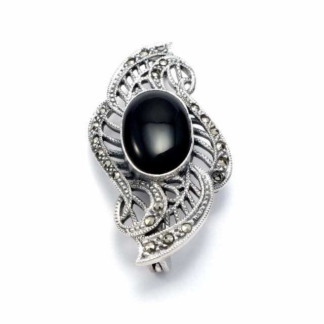 Onyx and marcasite silver brooch