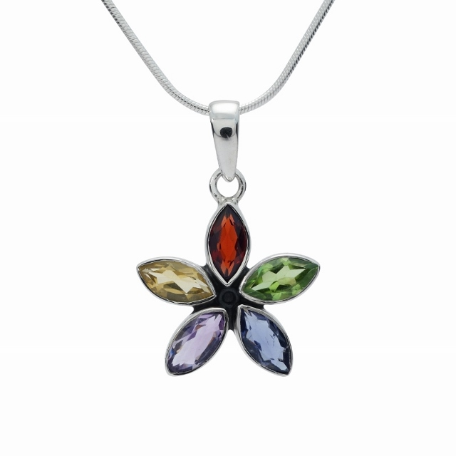 Multi-coloured cut stone silver flower pendant