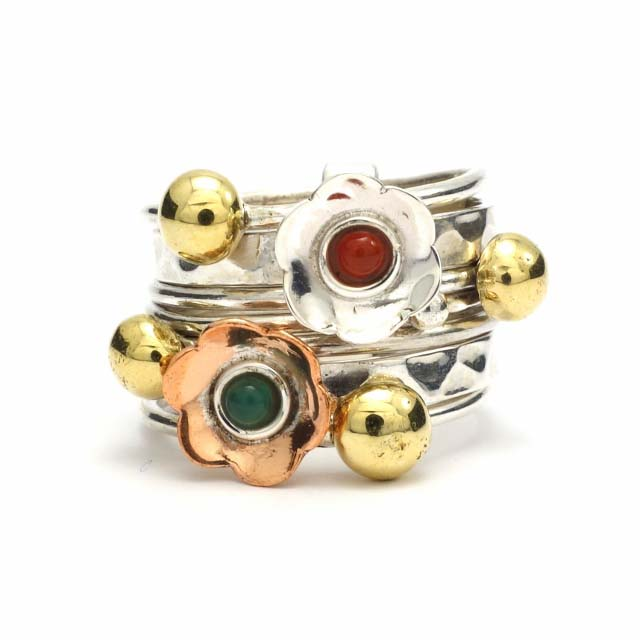 Silver and copper stack ring with stones